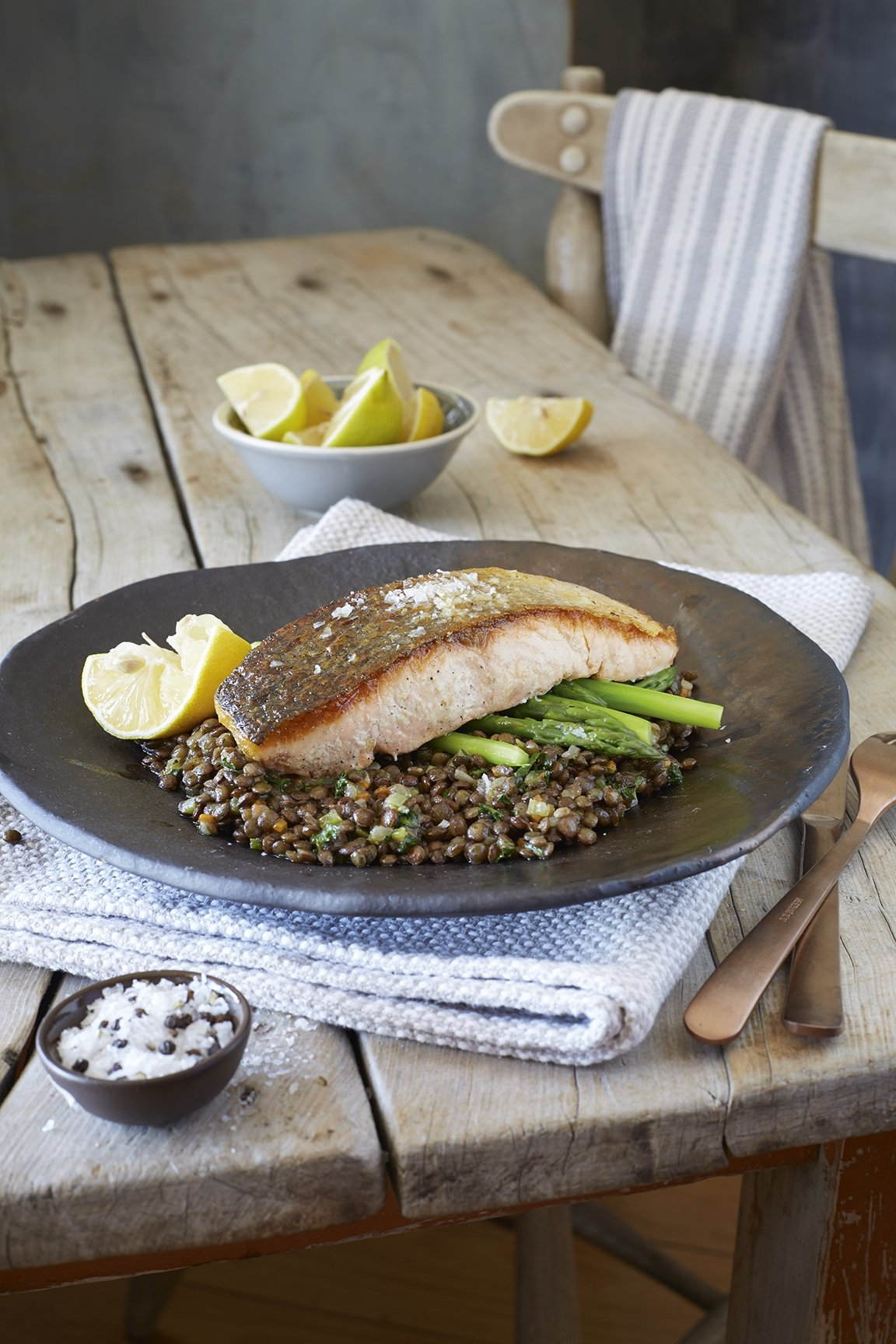 Salmon and Puy Lentils